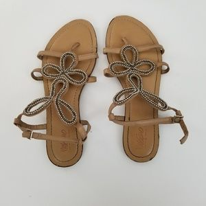 Mossimo womens sandals size 9 tan strappy beaded